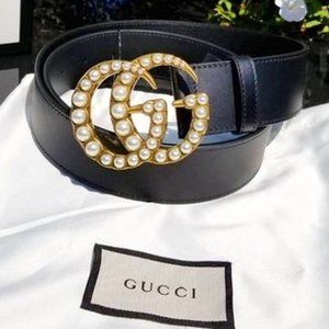 Gucci Leather belt with pearl Double G 80cm